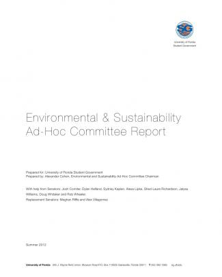 Environmental And Sustainability Ad Hoc Committee Report
