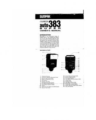 Sunpak 383 Super Owner's Manual