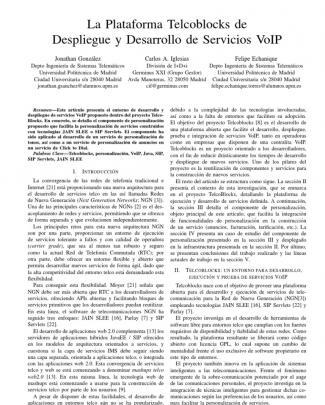 La Plataforma Telcoblocks De Despliegue Y Desarrollo De Servicios Voip