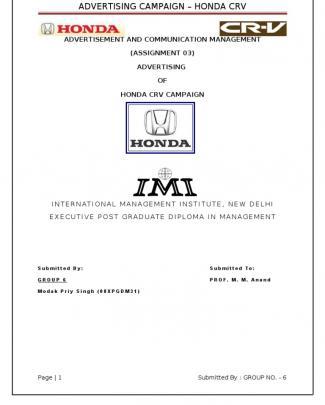 Honda Crv Ad Campaign Project