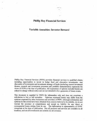 Phillip Roy Financial Consultants-etfs