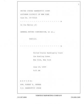 General Motors Bankruptcy 2595 - Transcript 6-25-09