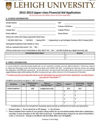 2012-13 Upperclass Financial Aid Application