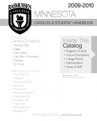 Rasmussen College - Minnesota Campuses Course Catalog 2009