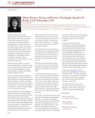 Marie Koster: Trusts And Estates Paralegal, Quarles & Brady, Llp, Milwaukee, Wi