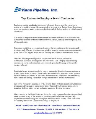 Top Reasons To Employ A Sewer Contractor