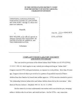 Icwa Maldonado V Holder Civil Complaint (july 2013)