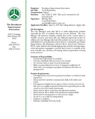 Social Work Intern Description