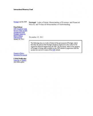 Imf 2013_portugal, Letter Of Intent Memorandum Of Economic And Financial Policies And Technical Memorandum Of Understanding [19 December 2012]