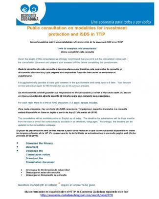 Documento Traducido Al Castellano De Las Preguntas De La Consulta  De La Unión Europea Sobre La Protección Al Inversor (investor-state Dispute Settlemen, Isds)