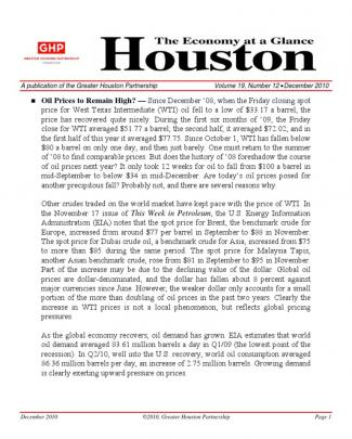 Houston Economic Update December 2010